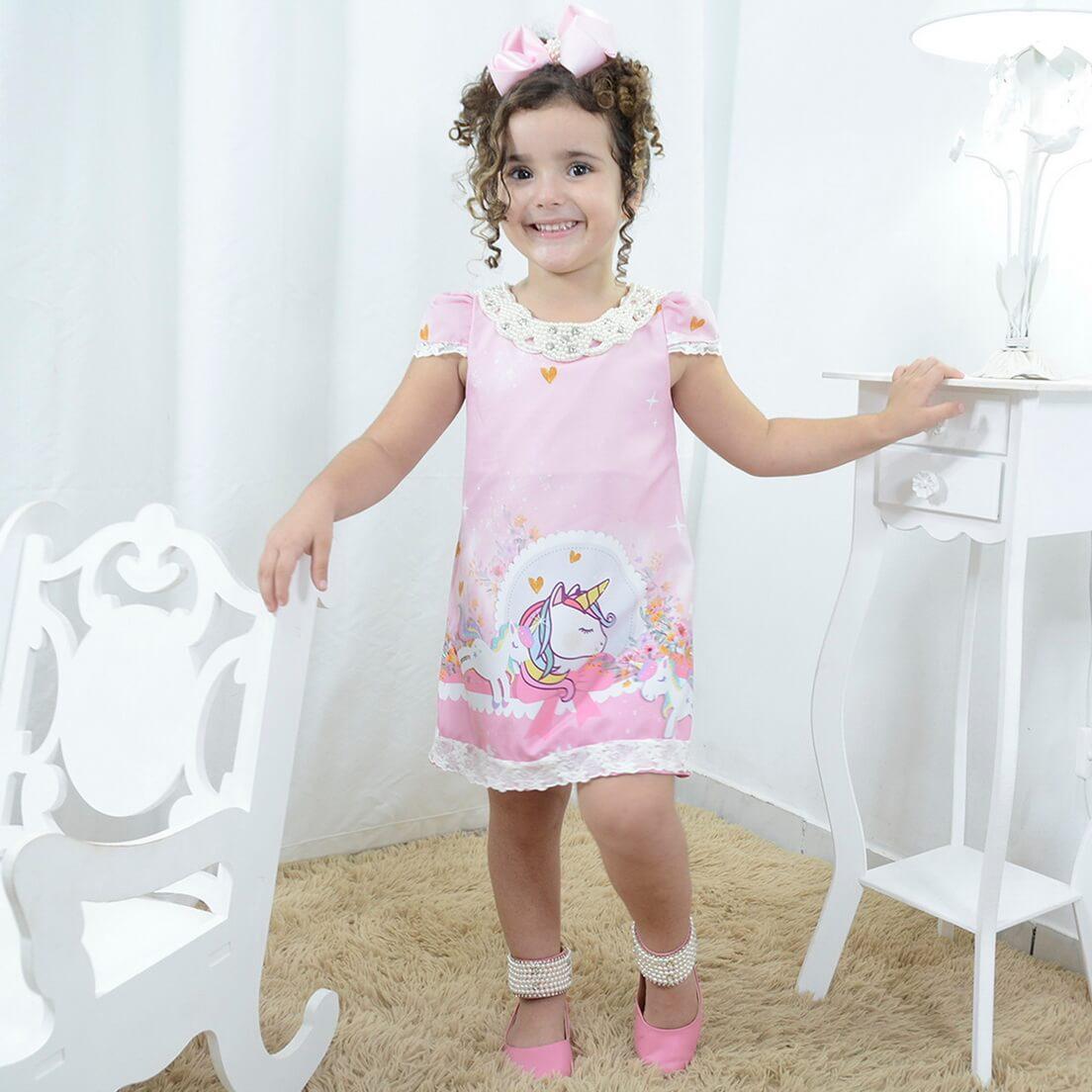 Vestido infantil unicórnio rosa com pérolas  tubinho trapézio luxo