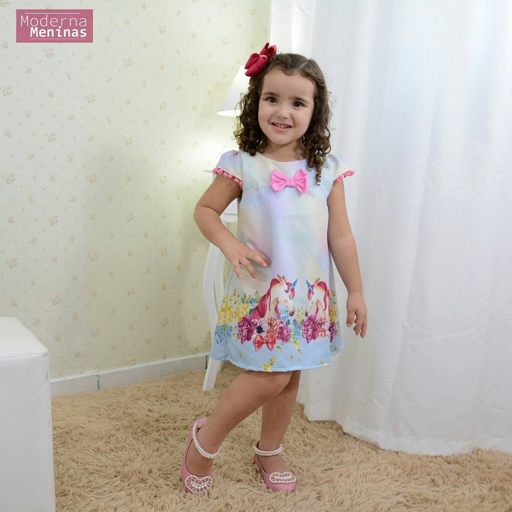 Vestido festa infantil unicórnios laço rosa – tubinho trapézio