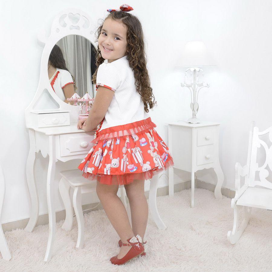 Vestido infantil vermelho com bolero tema ursos e laço para cabelo