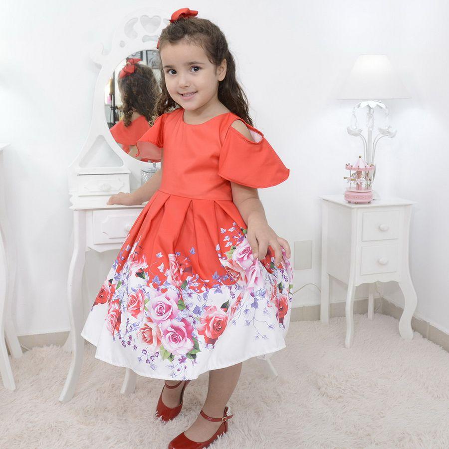 Vestido infantil vermelho floral com barrado branco