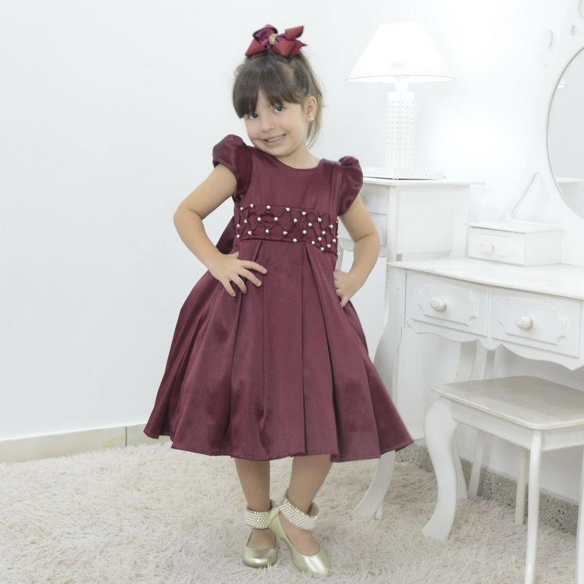 Vestido infantil vermelho marsala
