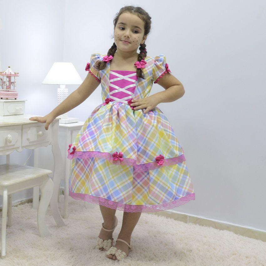 Vestido infantil xadrez tema quadrilha - Festa Junina