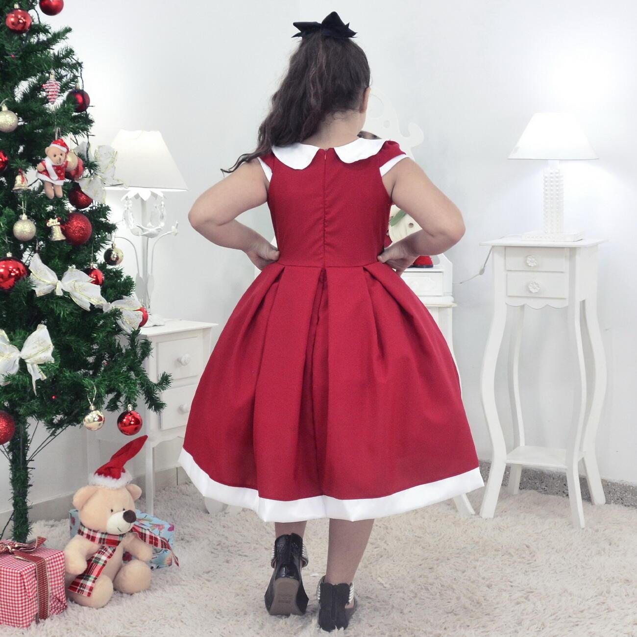 Vestido Mamãe Noel e Urso de Pelúcia - Infantil