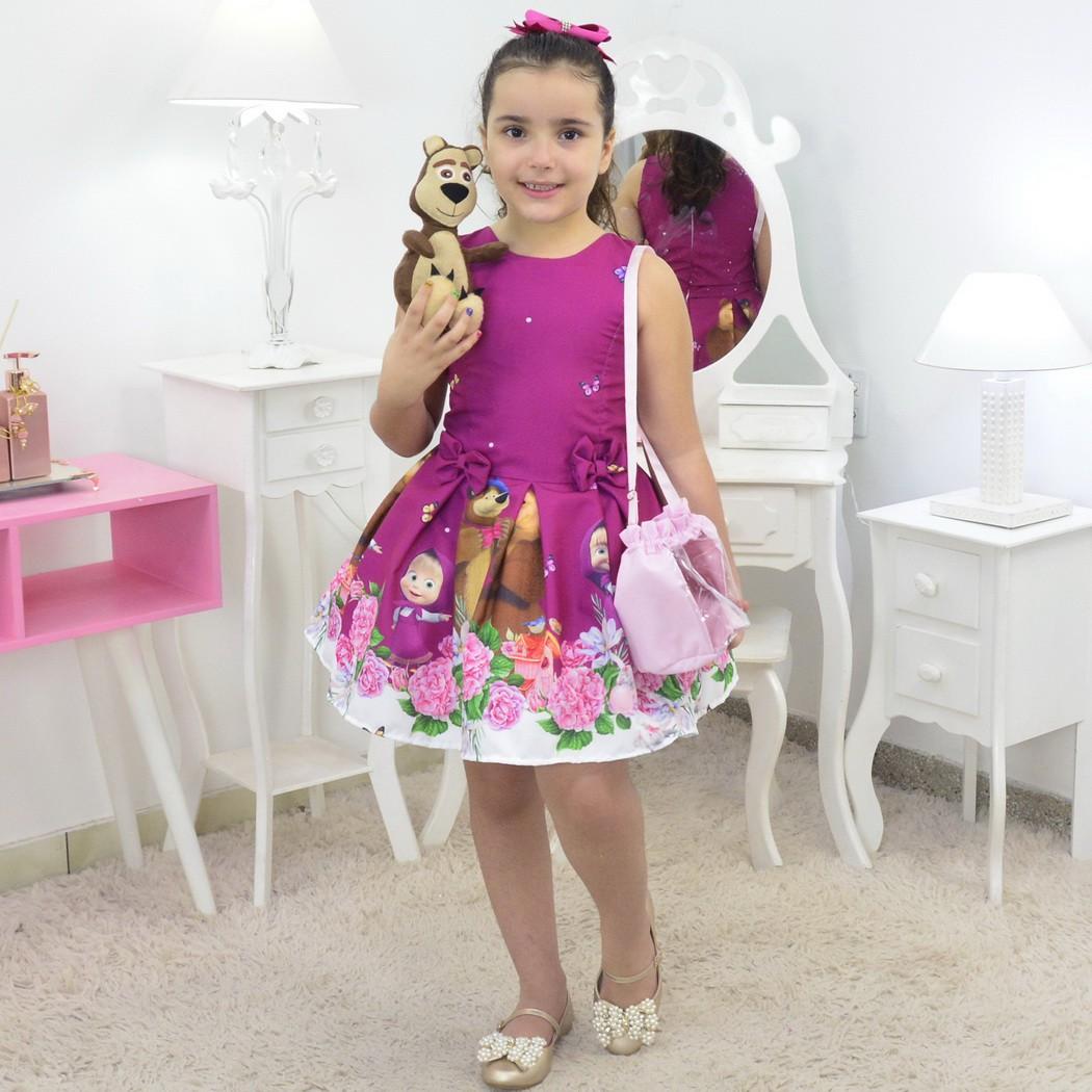 Vestido Masha e o Urso Com Bolsa Rosa e Pelúcia