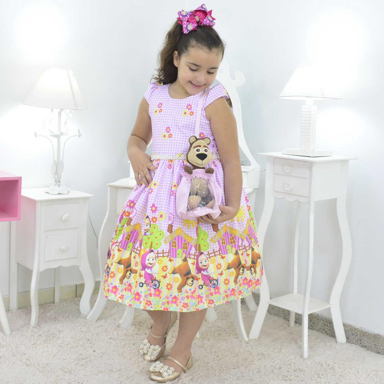 Vestido Masha e o Urso Rosa Bebê Com Bolsa e Pelúcia