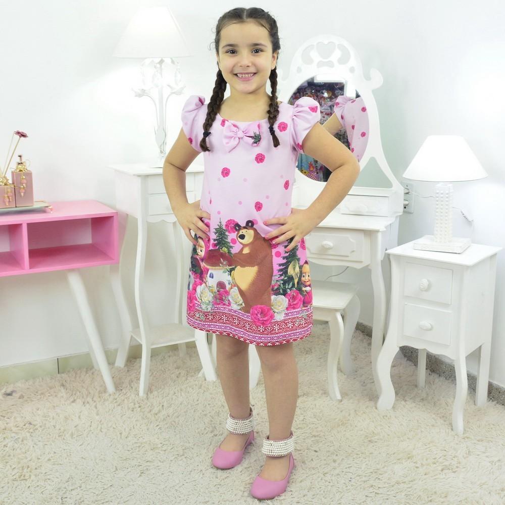 Vestido Masha e o Urso Rosa - Tubinho trapézio