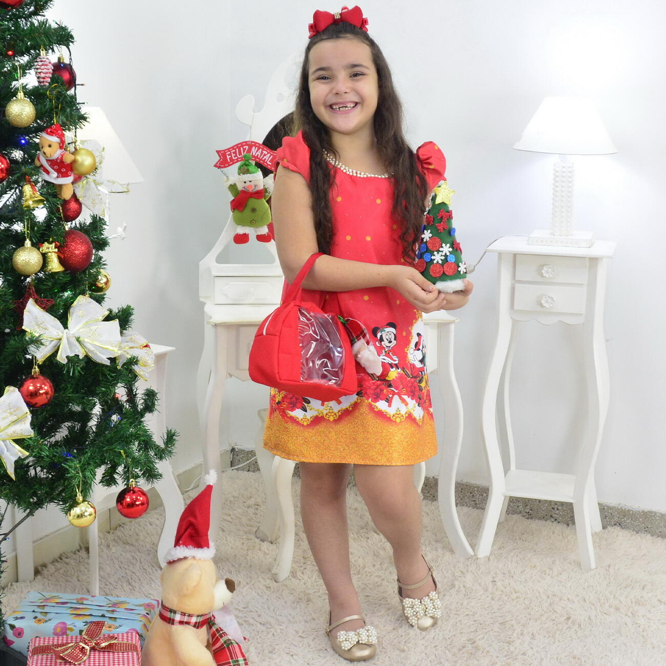 Vestido Mickey e Minnie no Natal Trapézio Com Bolsa