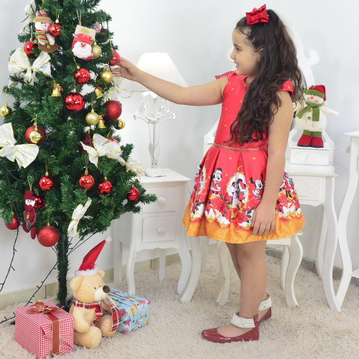Vestido Natal do Mickey e Minnie Vermelho