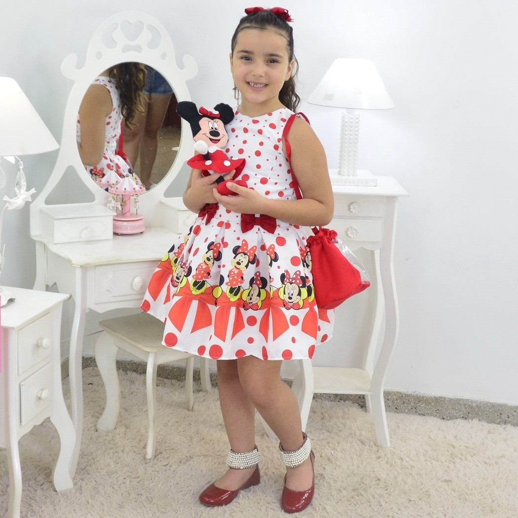 Vestido Minnie Vermelha Com Bolsa e Pelúcia