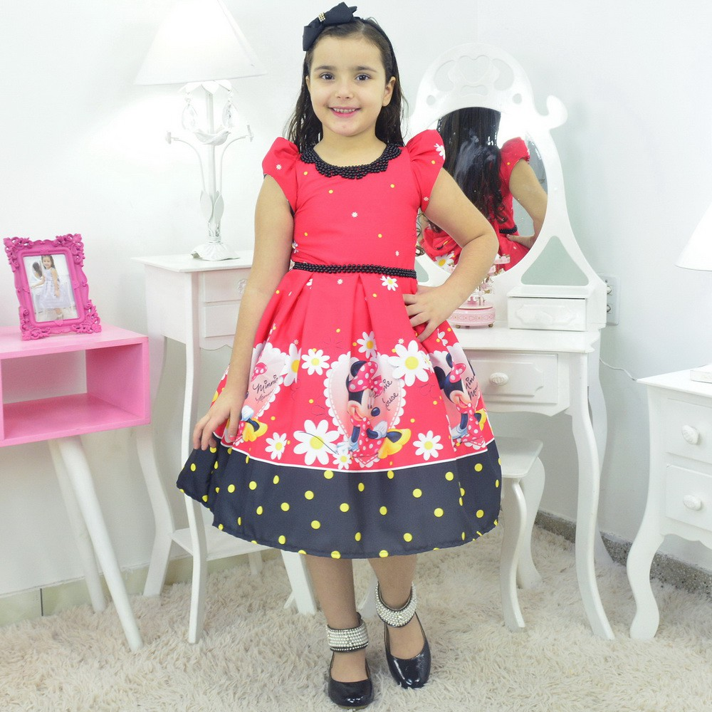 Vestido Minnie Vermelha Luxo