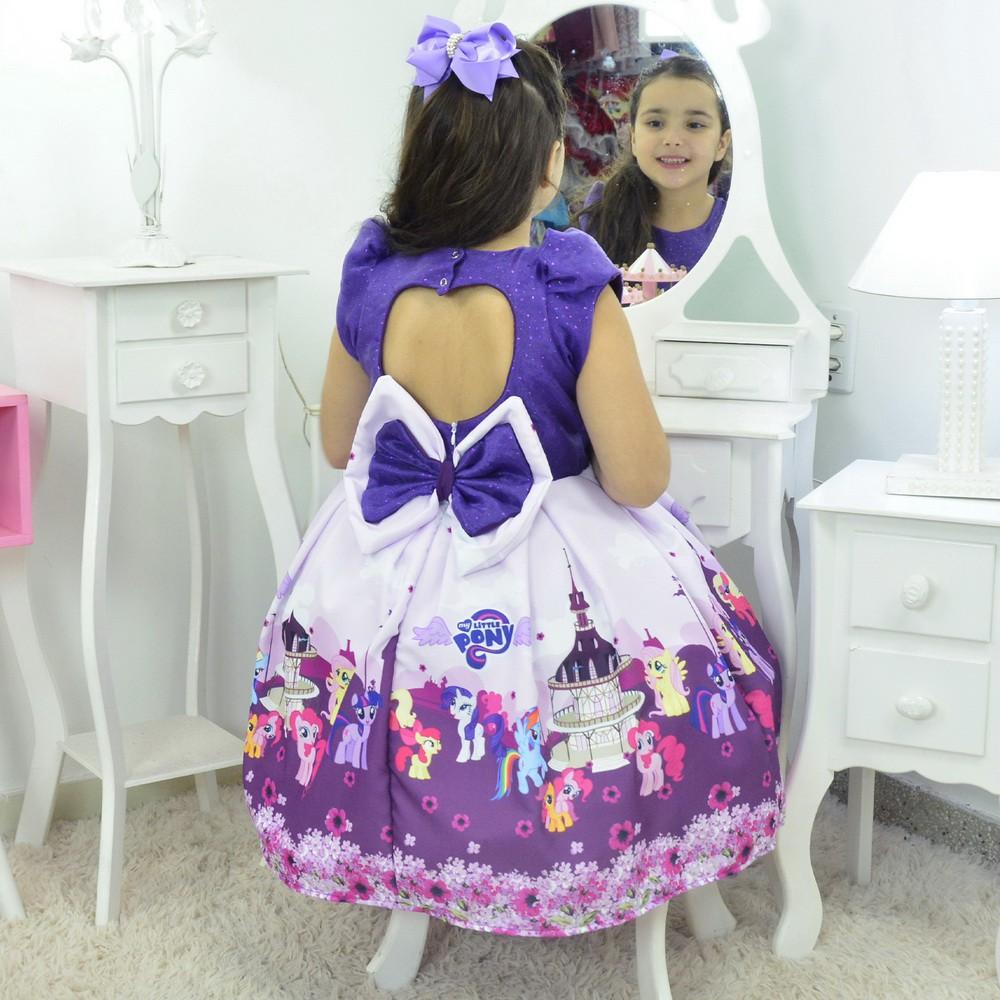Vestido My Little Pony Roxo Com Lilás - Festa