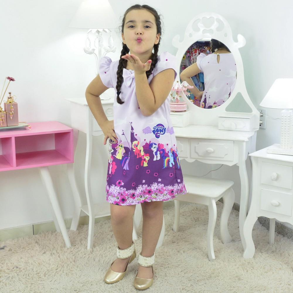 Vestido My Little Pony - Tubinho trapézio - Roxo Com Lilás