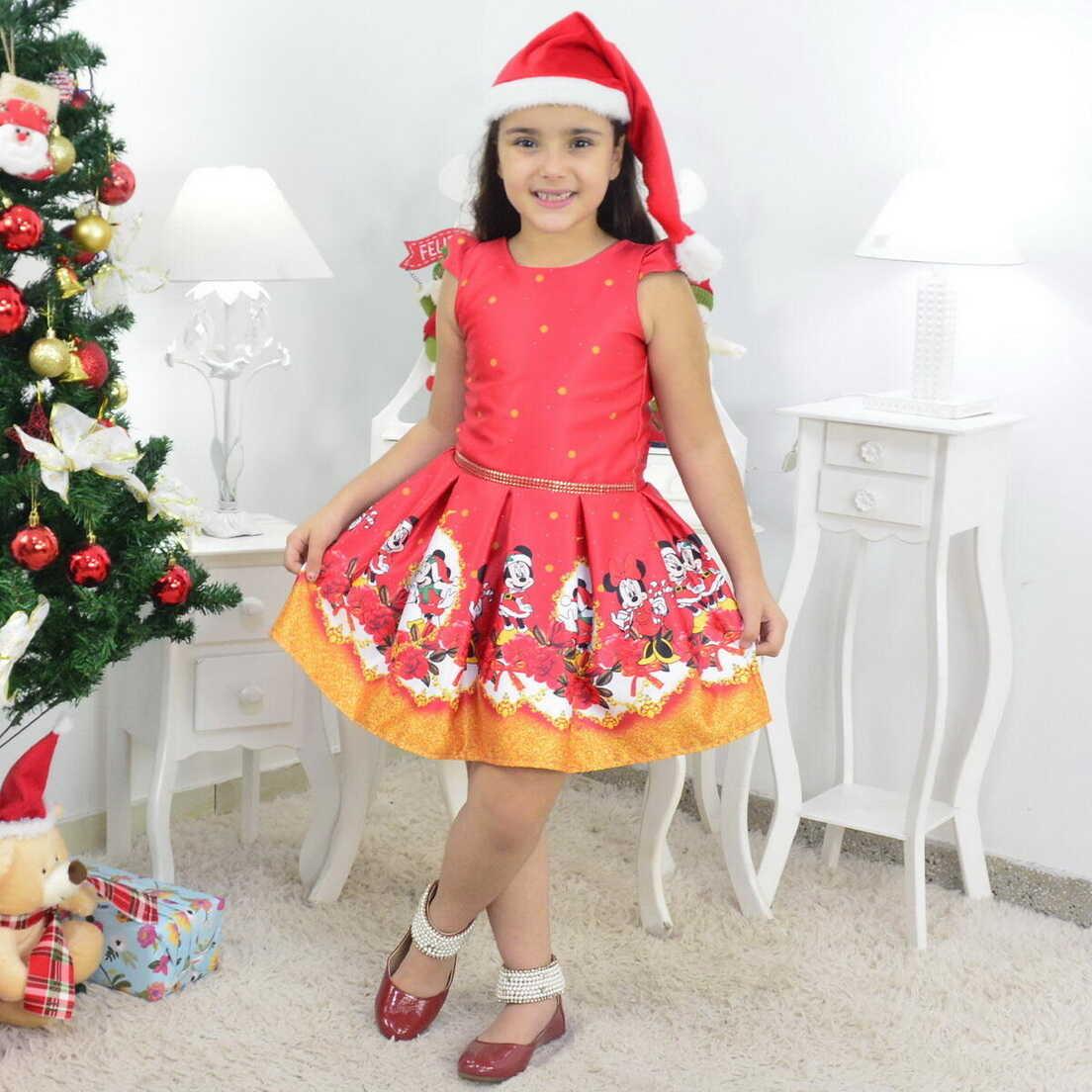 Vestido Natal do Mickey e Minnie Acompanha o Gorro
