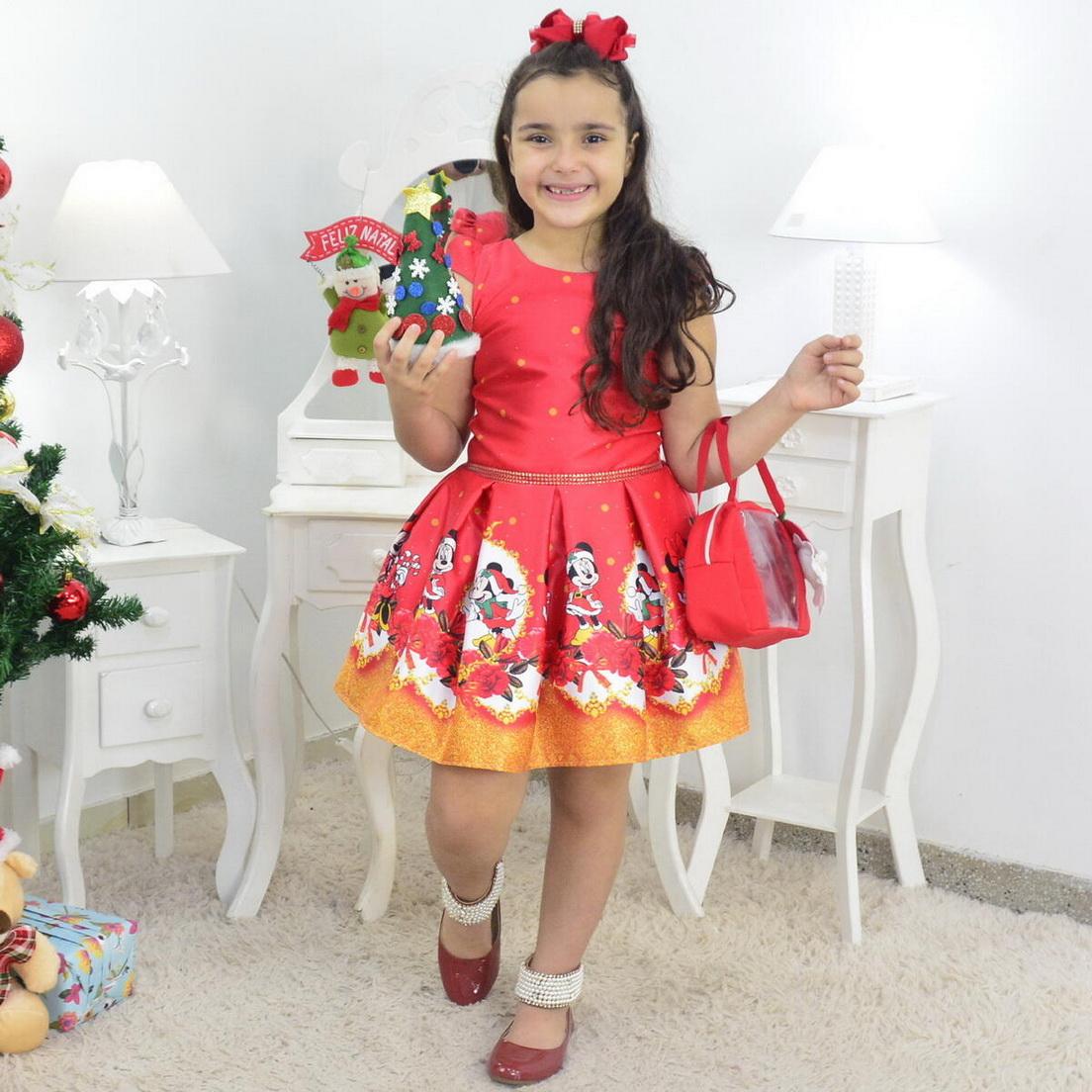 Vestido Natal do Mickey e Minnie Com Bolsa e Arvore de Montar
