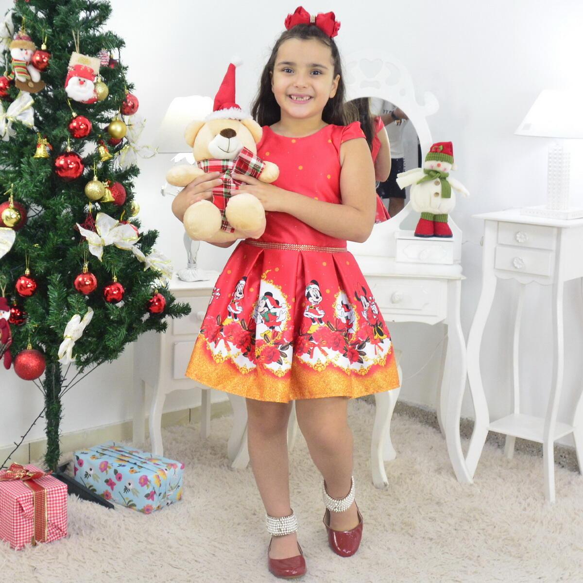 Vestido Natal do Mickey e Minnie e Urso de Pelúcia