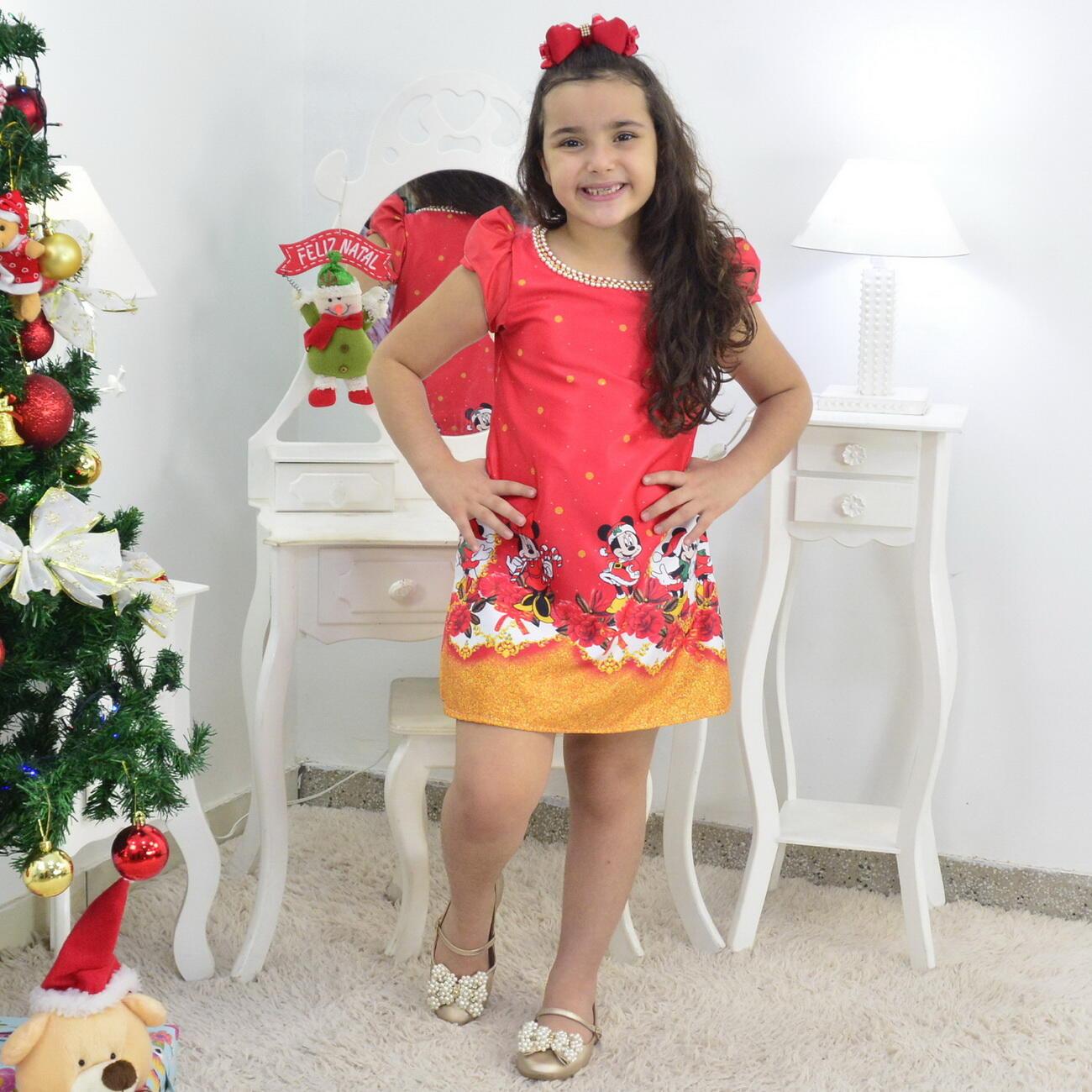 Vestido Natal do Mickey e Minnie Trapézio Vermelho