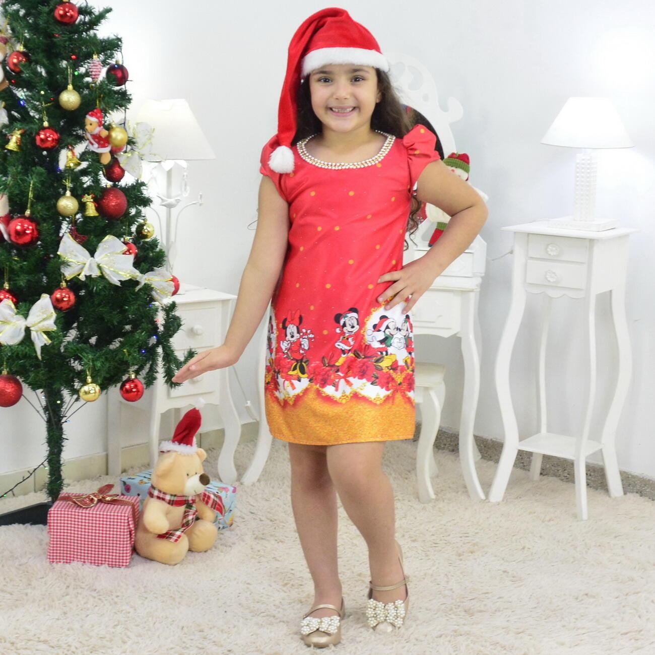 Vestido Natal do Mickey e Minnie Trapézio Com Gorro