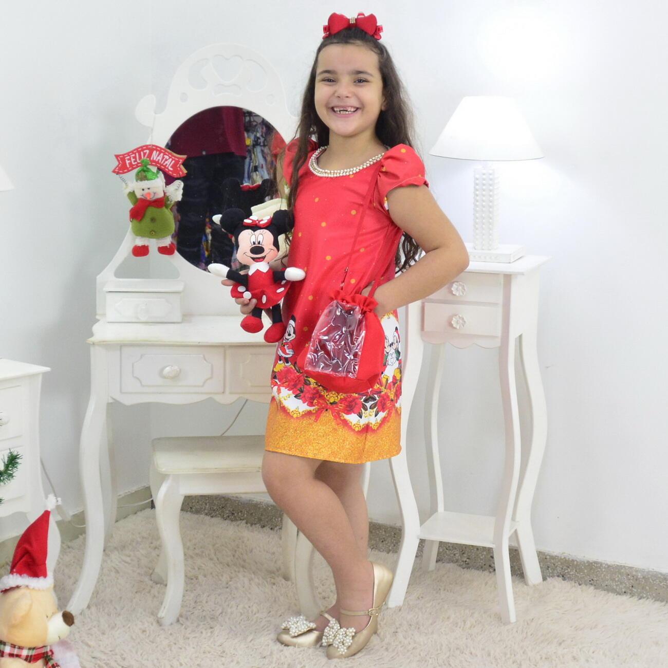 Vestido Natal do Mickey e Minnie Trapézio Com Bolsa e Pelúcia