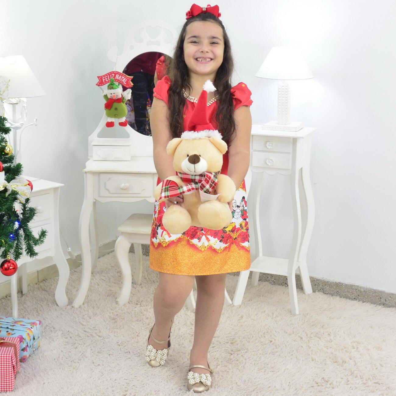 Vestido Natal do Mickey e Minnie Trapézio e Urso de Pelúcia