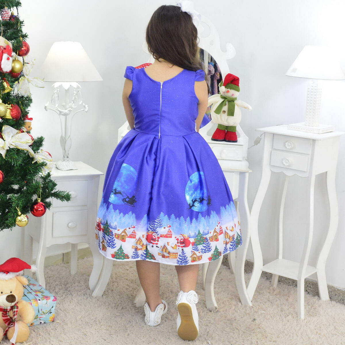 Vestido Natal Infantil Papai Noel Com Bolsa e Arvore de Montar