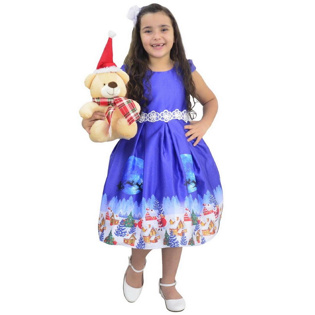 Vestido Natal Infantil Papai Noel  e Urso de Pelúcia