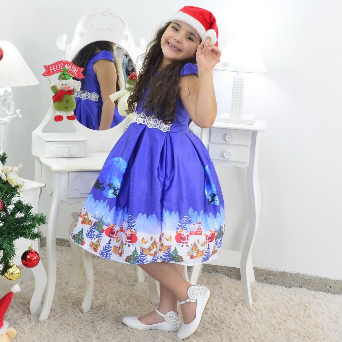 Vestido Natal Infantil Papai Noel Menina Bebê Acompanha o Gorro
