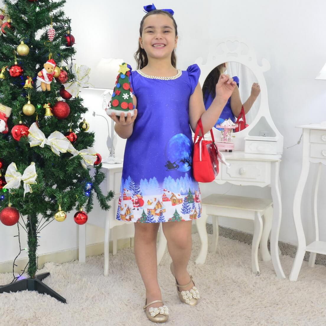 Vestido Noite de Natal Com Bolsa e Arvore de Montar - Infantil
