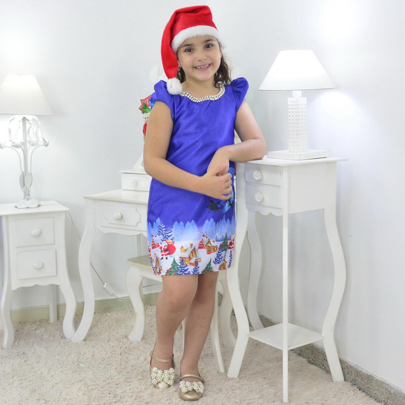 Vestido Noite de Natal E Gorro - Trapézio Infantil