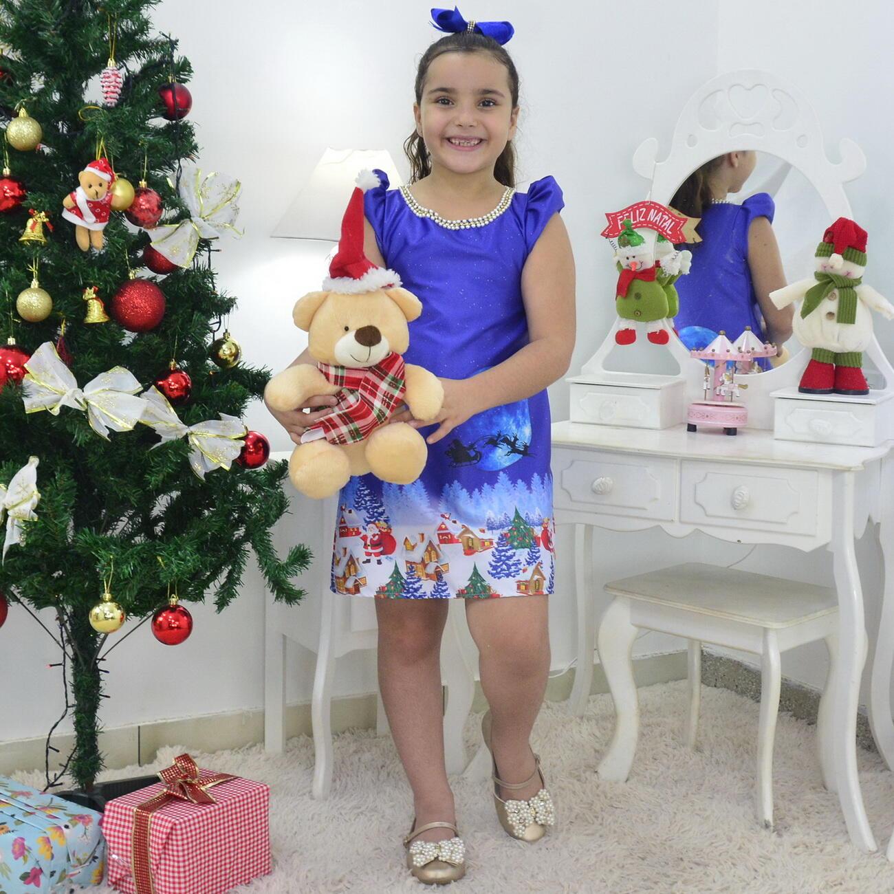 Vestido Noite de Natal e Urso de Pelúcia - Infantil Trapézio