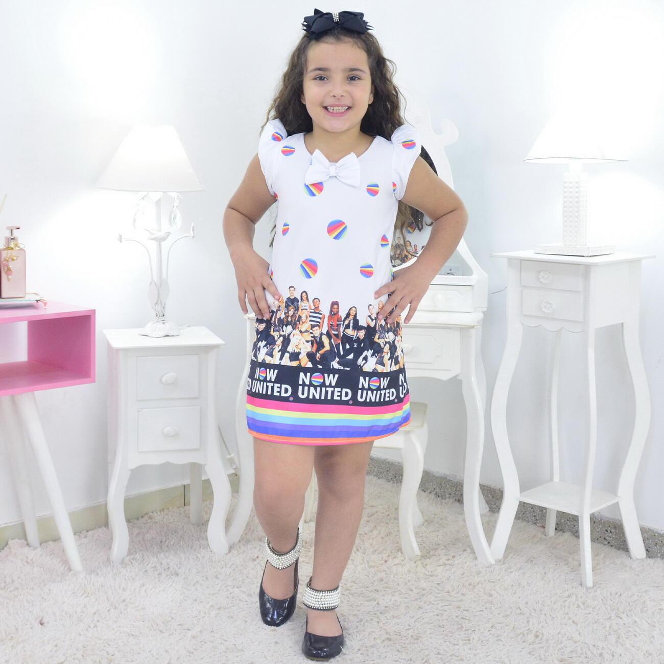 Vestido Now United Infantil - Trapézio