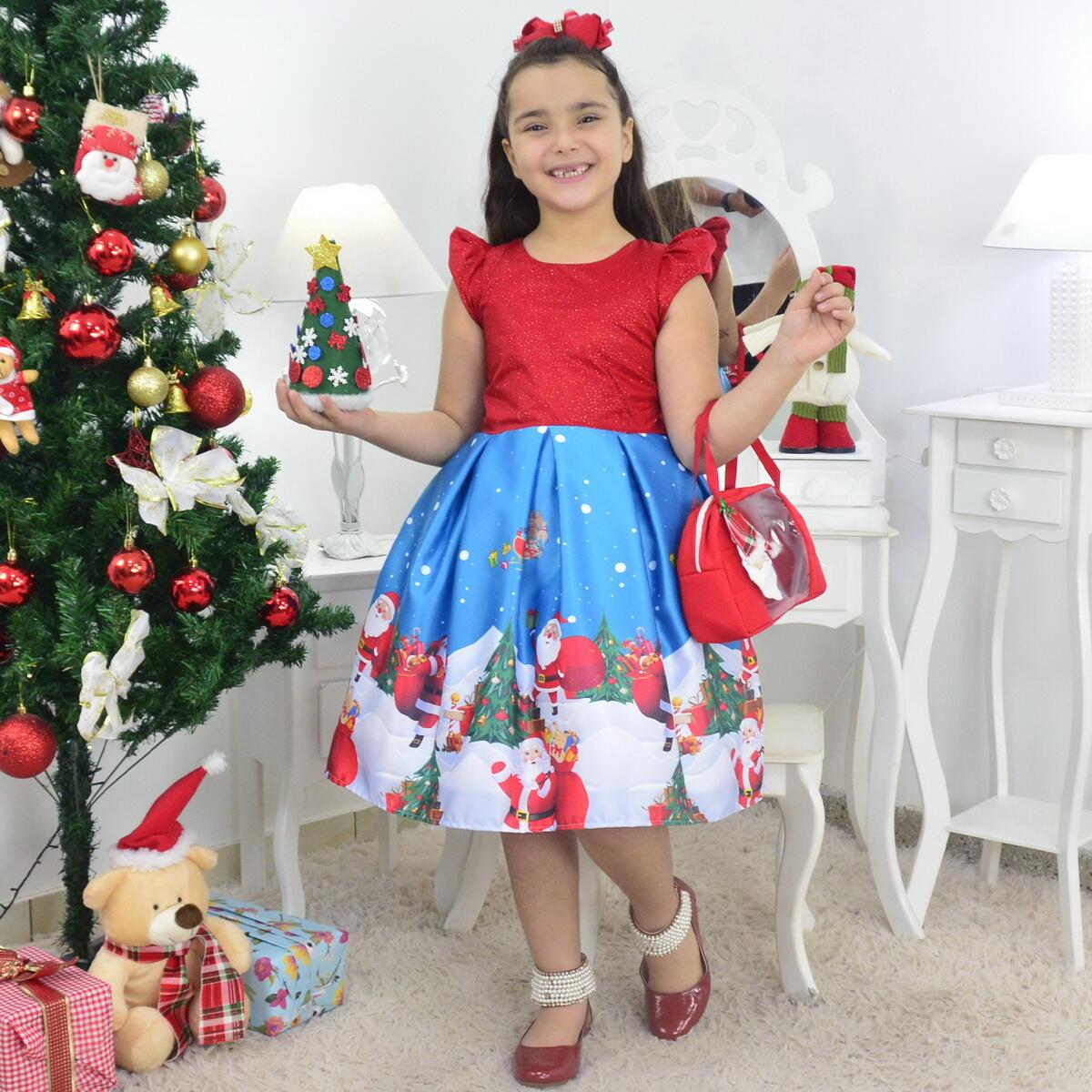Vestido Papai Noel Com Bolsa Vermelha e Arvore de Montar