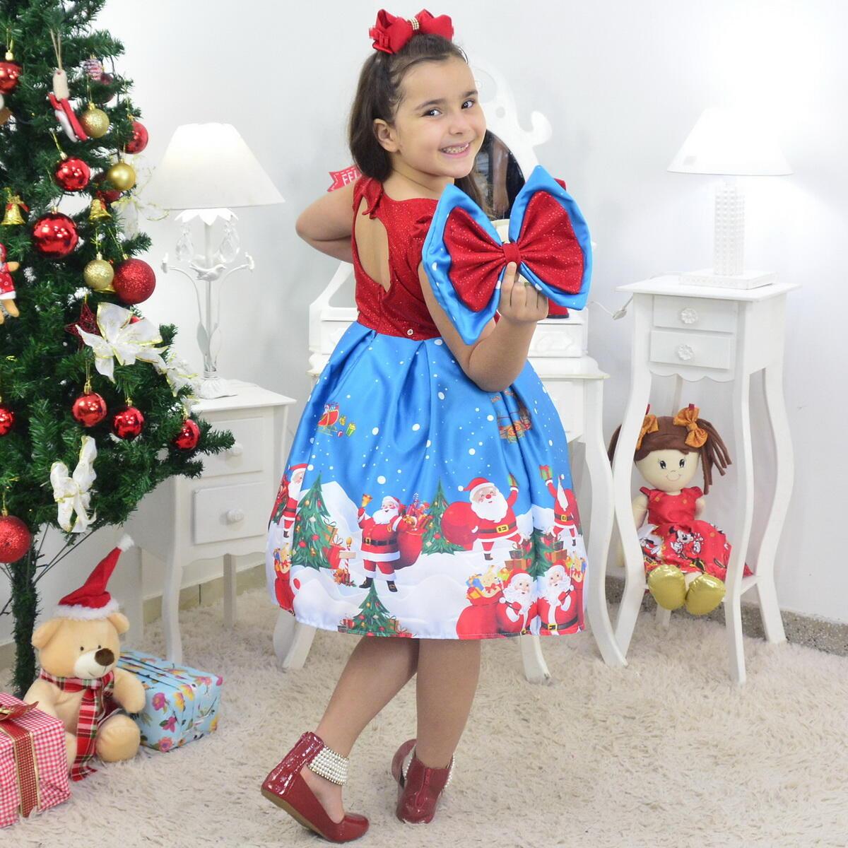 Vestido Papai Noel Com Urso de Pelúcia