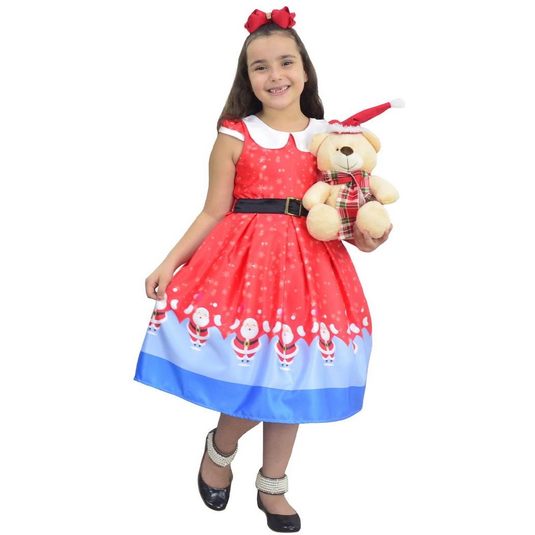 Vestido Papai Noel e Urso de Pelúcia - Infantil