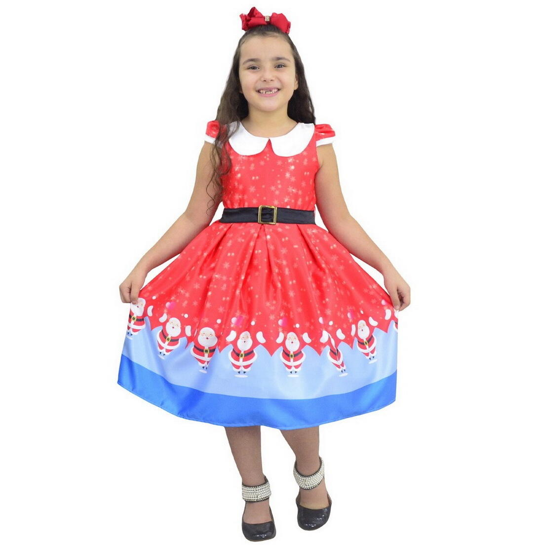 Vestido Papai Noel Natal Infantil - Vermelho Com Azul