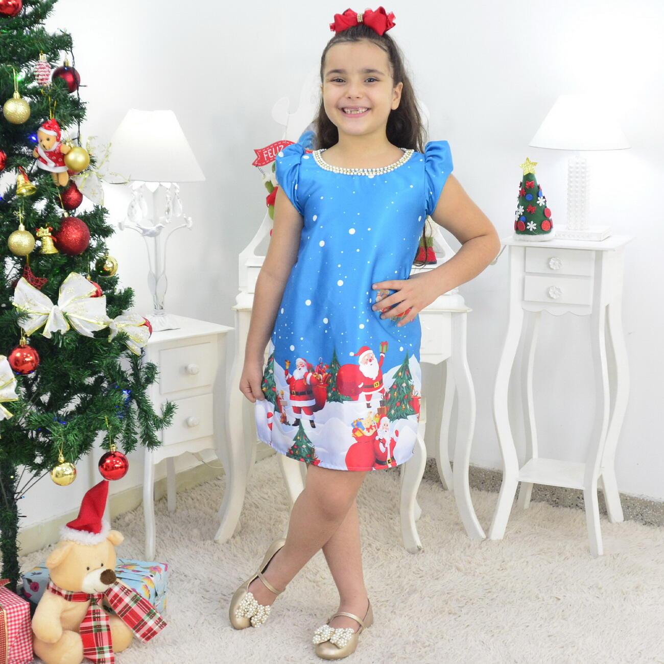 Vestido Papai Noel Trapézio Azul