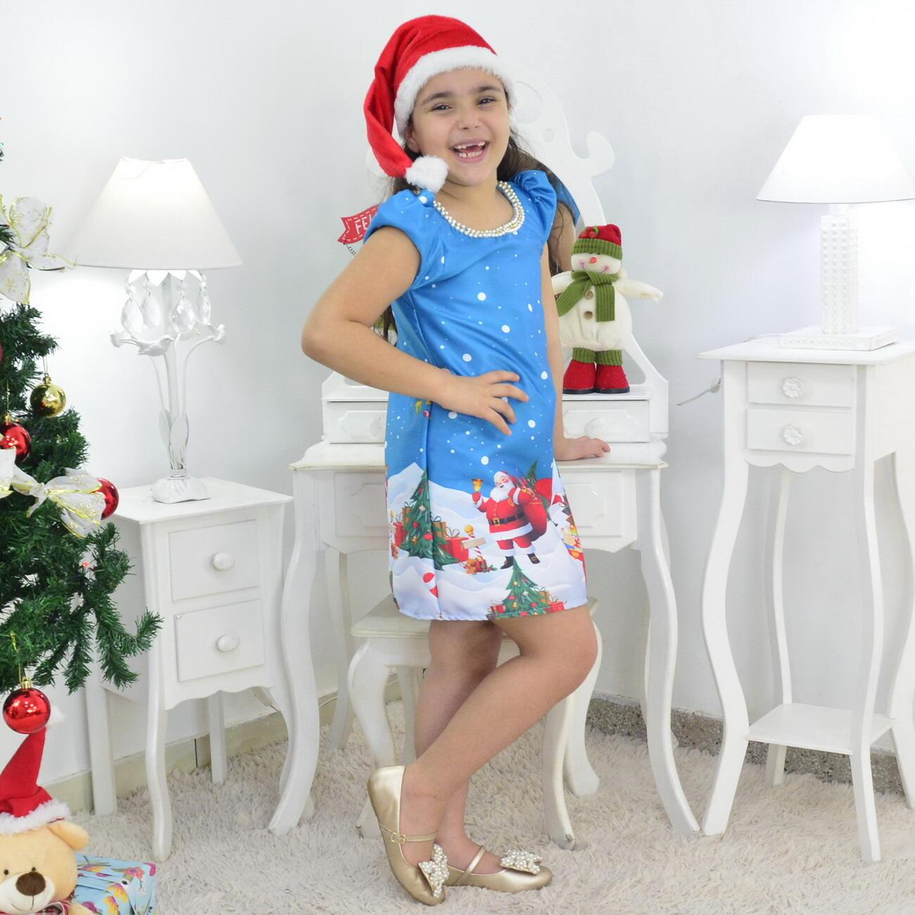 Vestido Papai Noel Trapézio Azul E Gorro