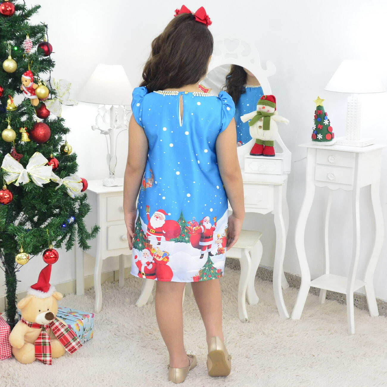 Vestido Papai Noel Trapézio Azul e Urso de Pelúcia