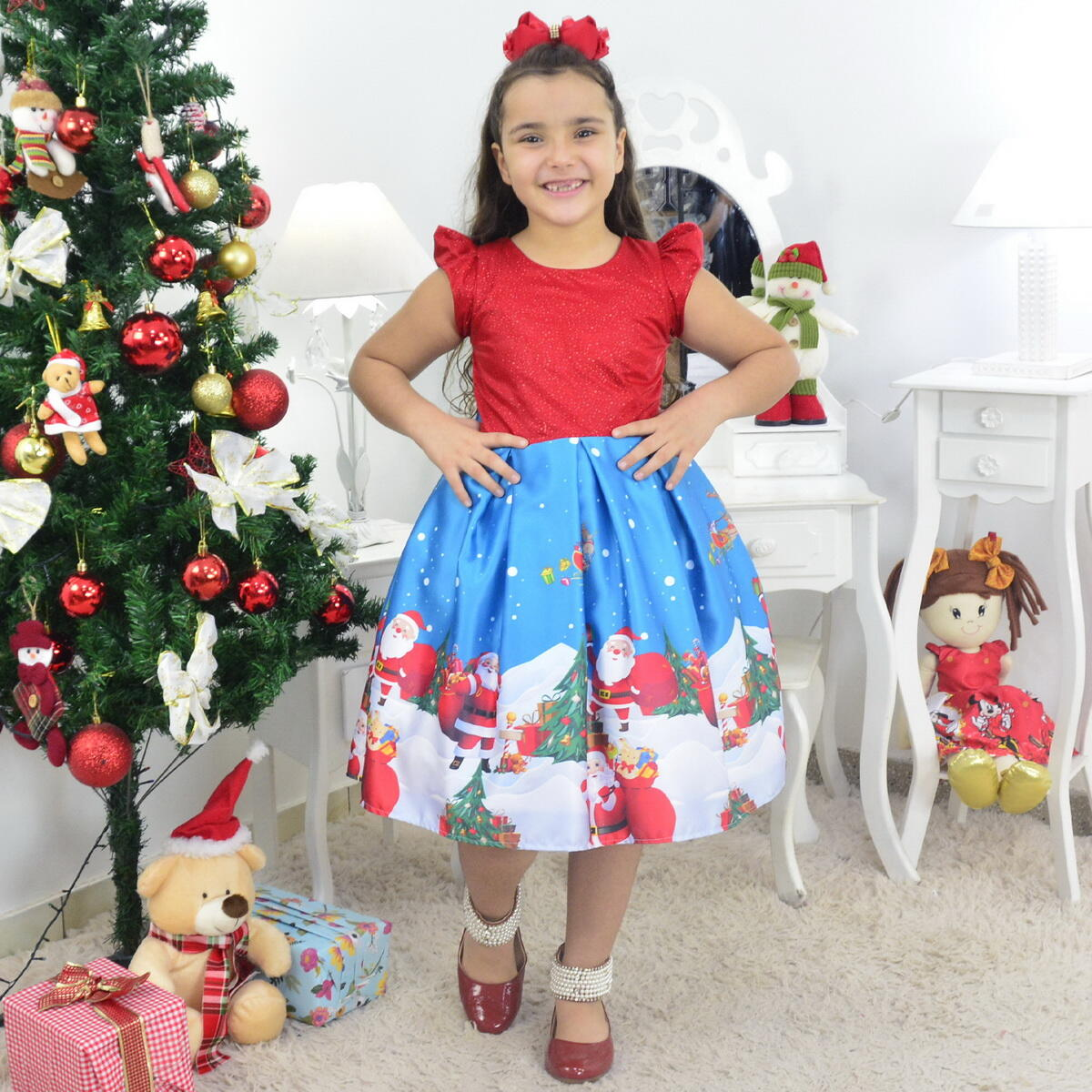Vestido Papai Noel Vermelho com Glíter e Azul Infantil