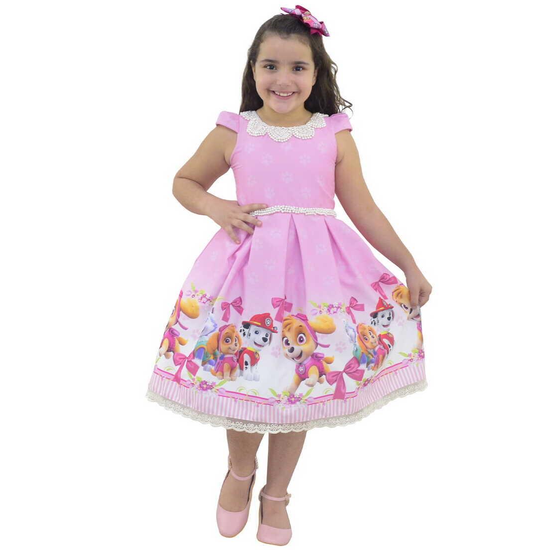 Vestido Patrulha Canina Skye Luxo Rosa