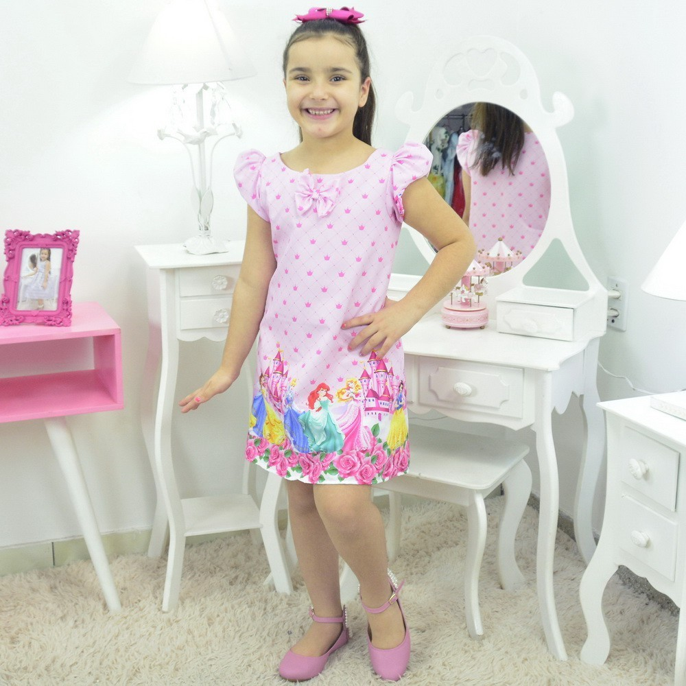 Vestido Princesas da Disney - Tubinho trapézio Rosa