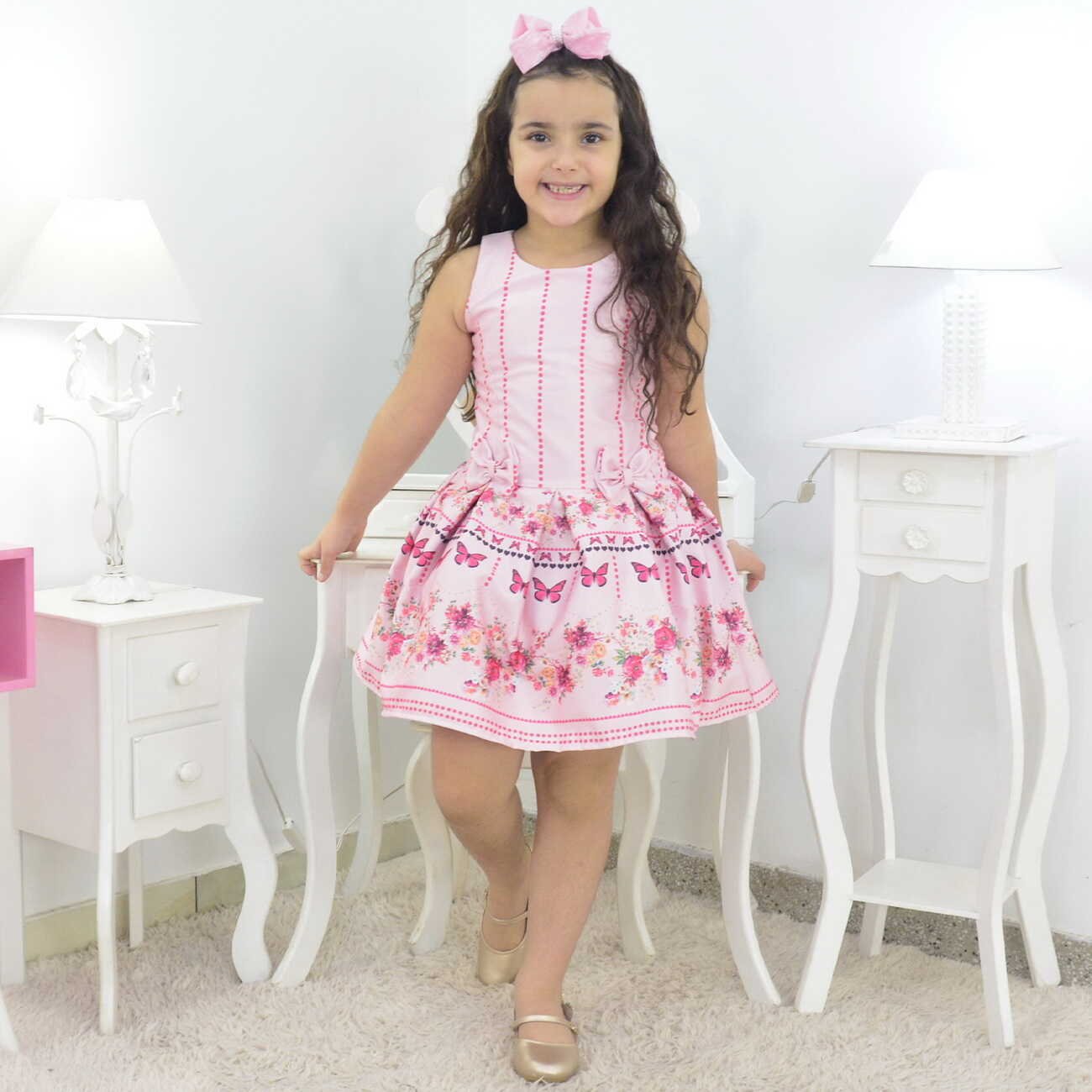Vestido Rosa Bebê Com Borboletas Pink Infantil