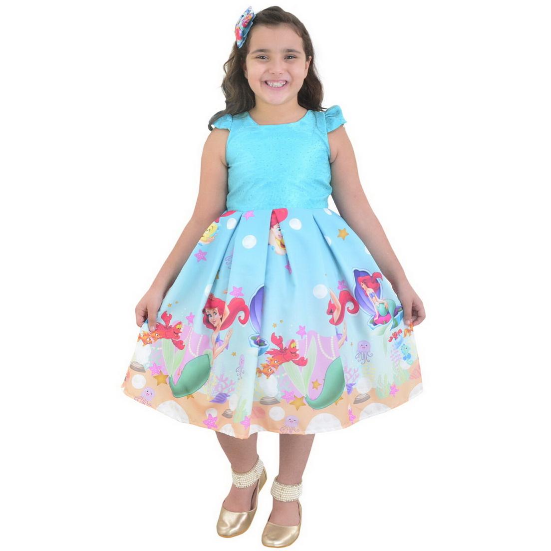 Vestido Sereia Ariel Luxuoso Com Glíter