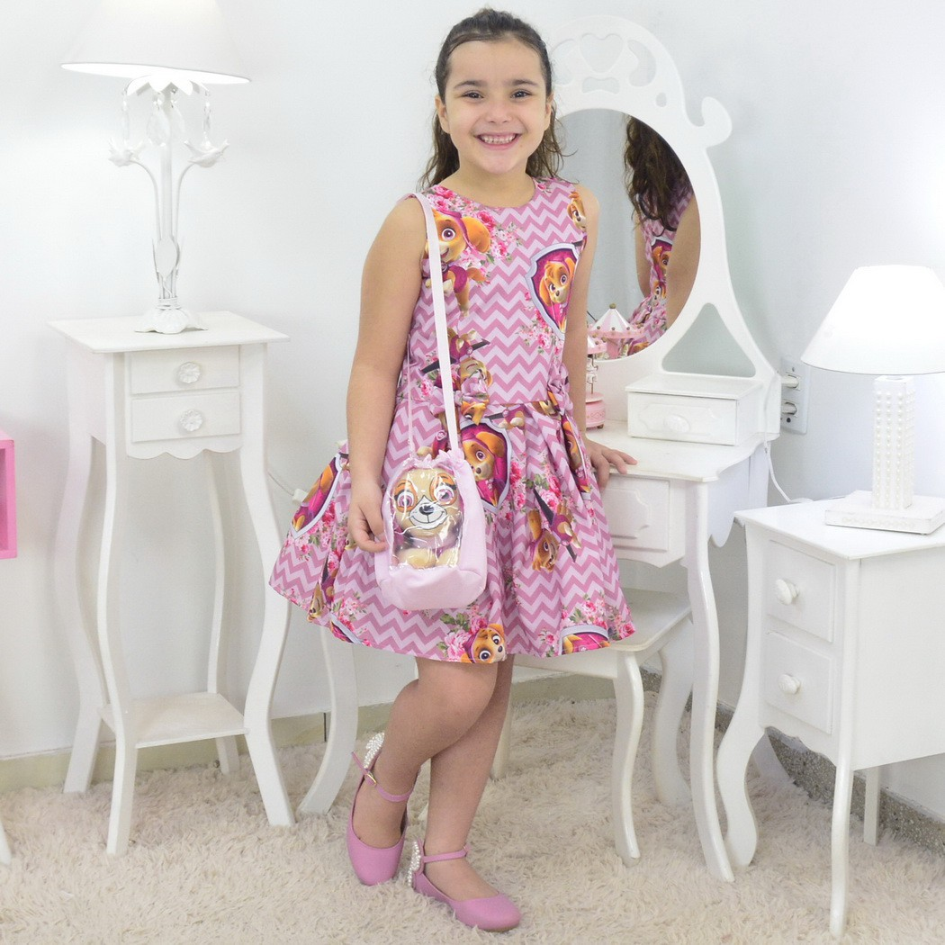 Vestido Skye da Patrulha Canina Com Bolsa Rosa e Pelúcia