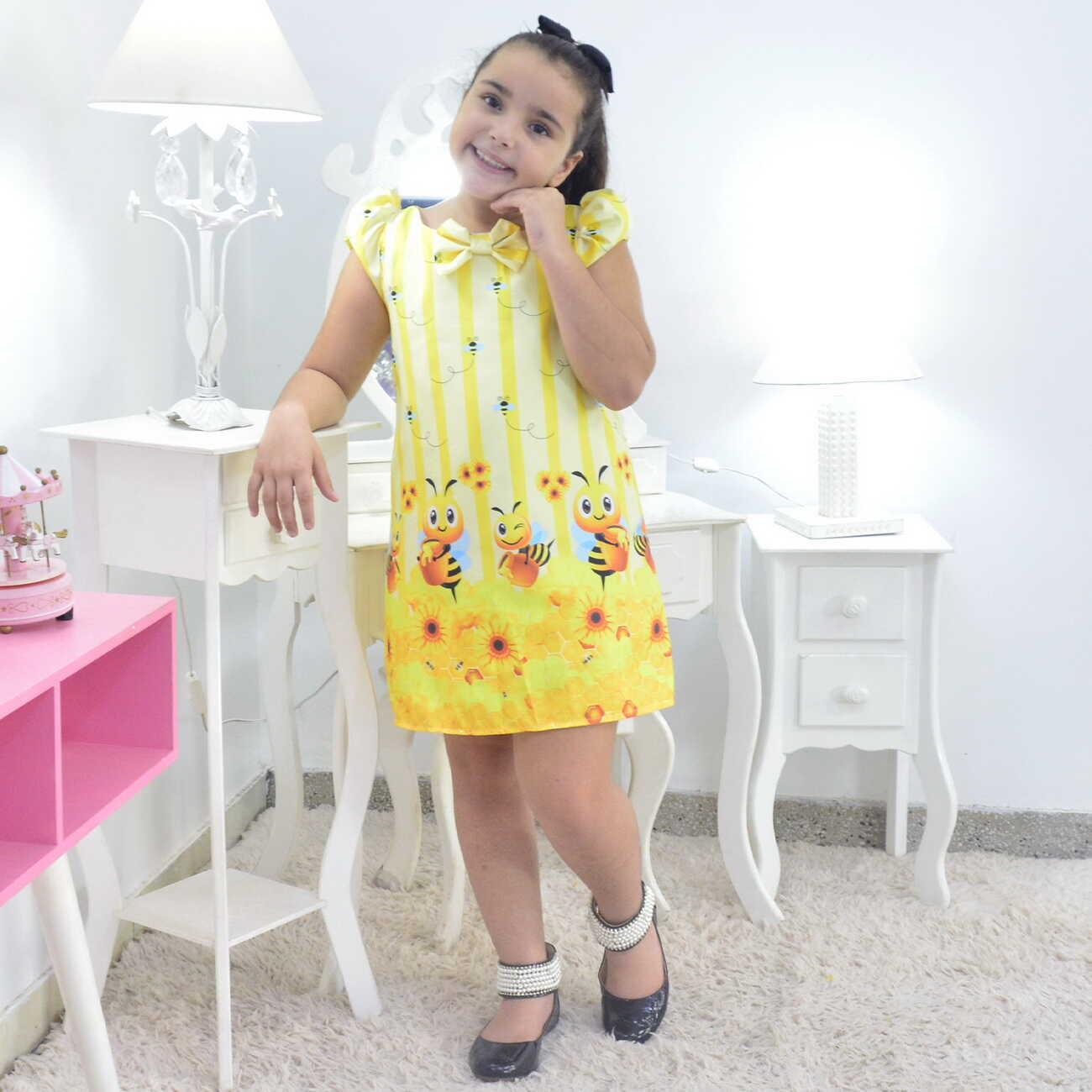 Vestido Tema Abelhinha Bebê  - Trapézio