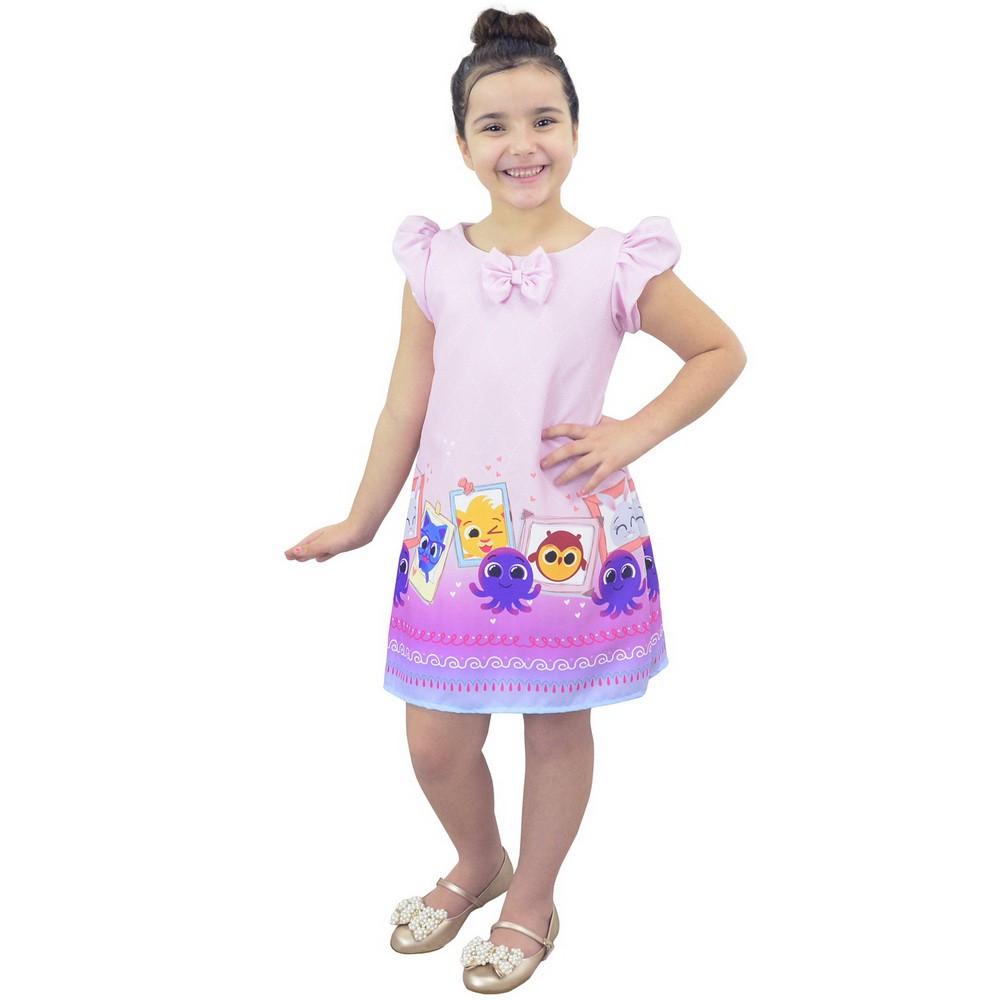 Vestido tema Bolofofos Rosa Trapézio