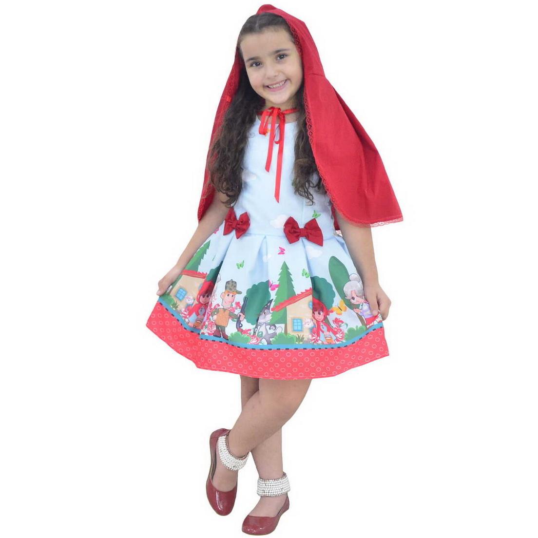 Vestido tema Chapeuzinho Vermelho com Capa