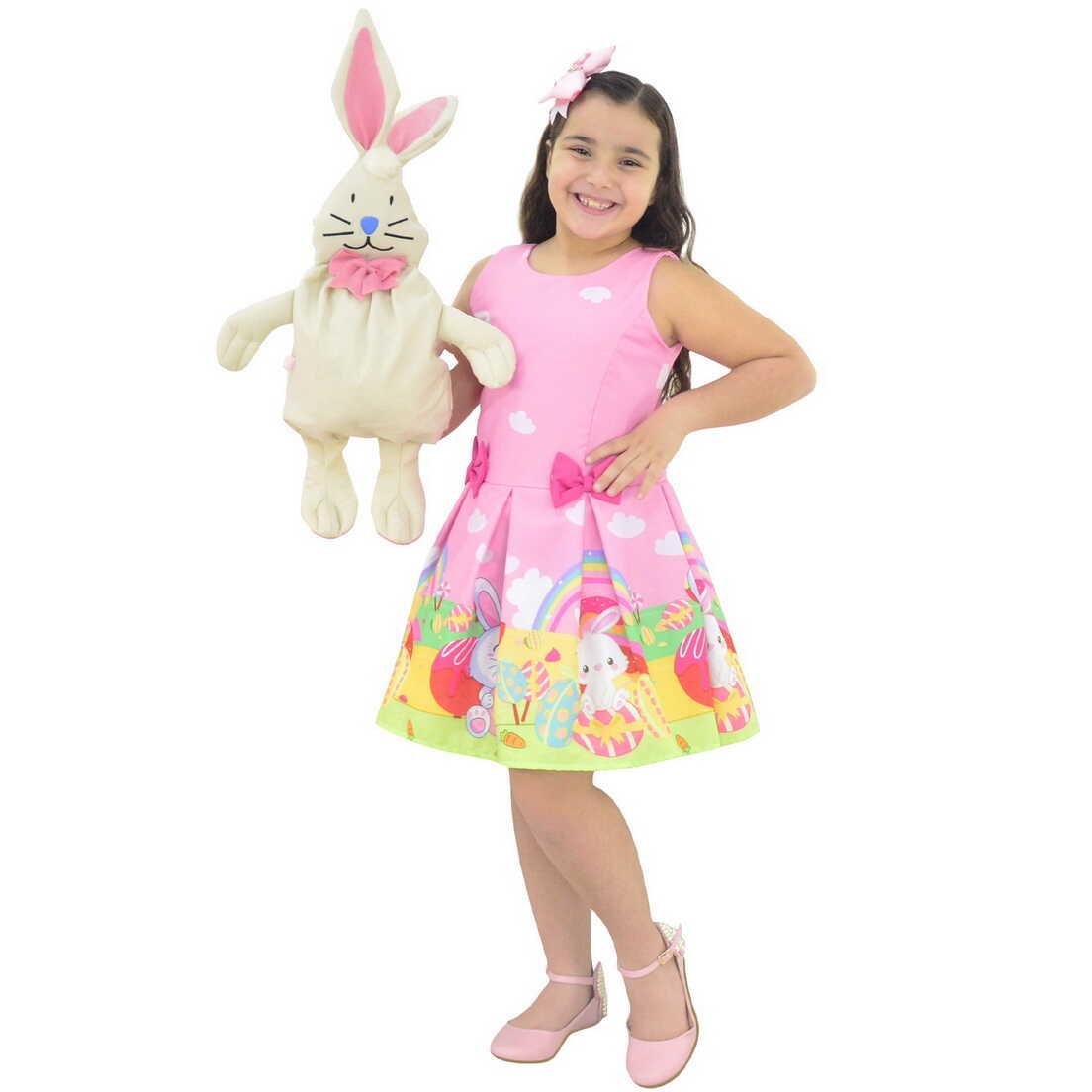 Vestido Tema de Páscoa Acompanha Bolsa Coelho