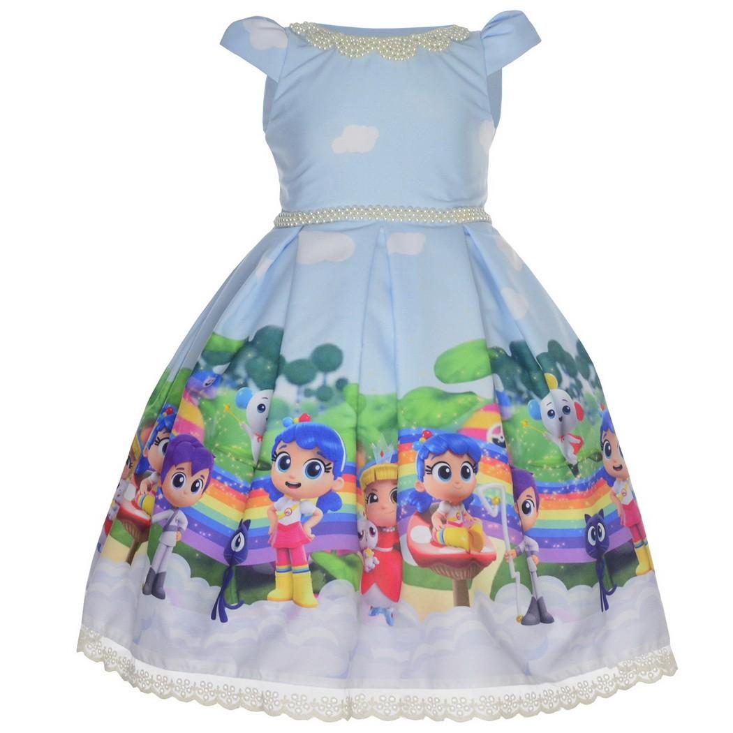 Vestido tema Vera e o Reino do Arco-Íris Luxuoso azul