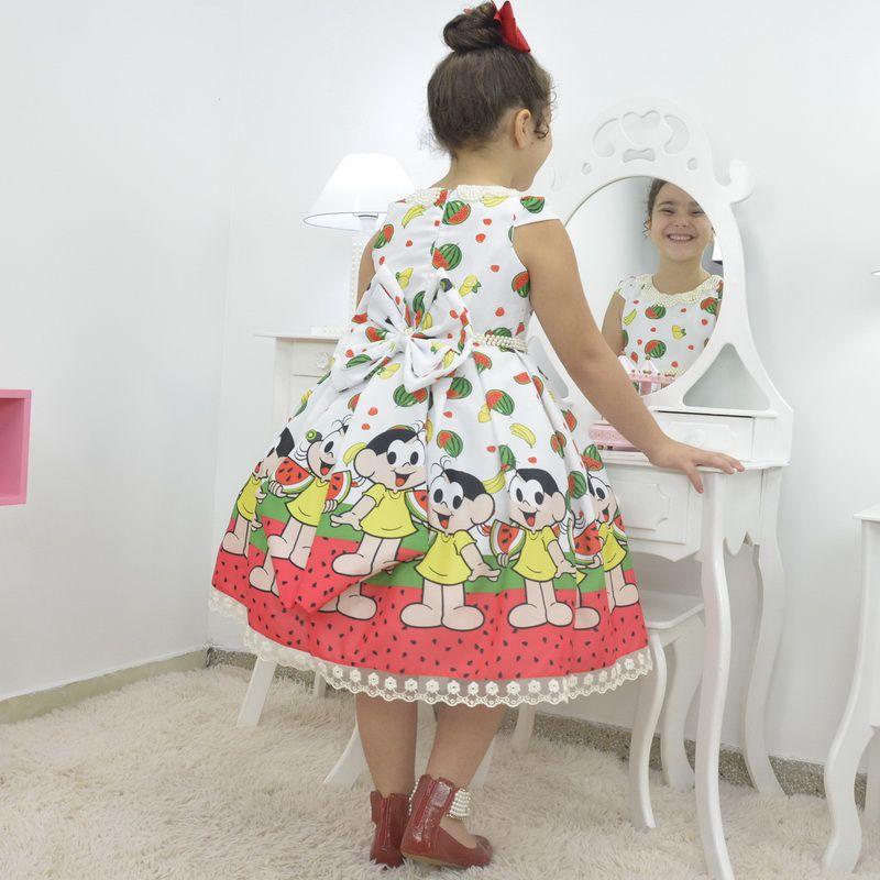 Vestido temático da Magali com melancias - Turma da Mônica