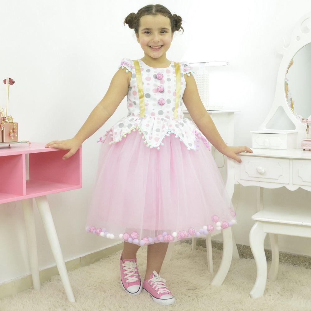 Vestido Temático Infantil Circo Rosa com pompom